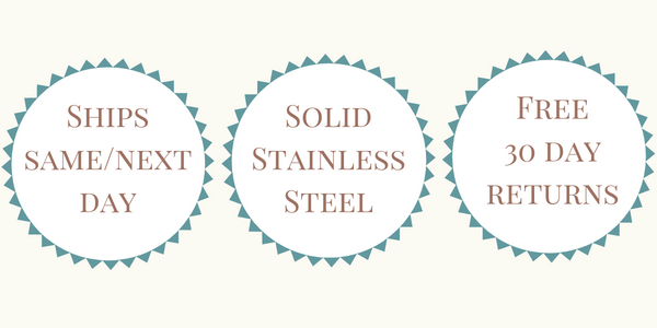 Ships Same or Next Day - Solid Stainless Steel - Free 30 Day Returns