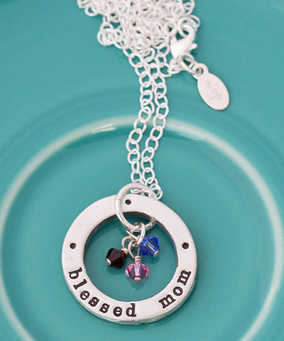 Blessed Mom Necklace with Swarovski Crystal Birthstone Charms