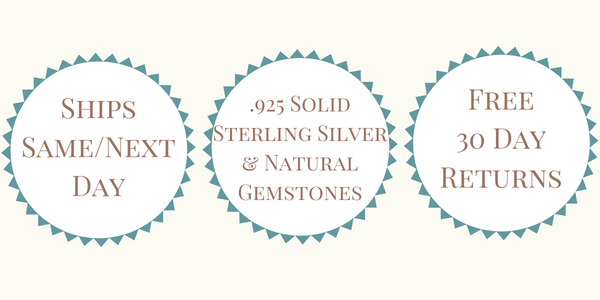 Ships Same or Next Day - .925 Solid Sterling Silver & Natural Gemstones - Free 30 Day Returns