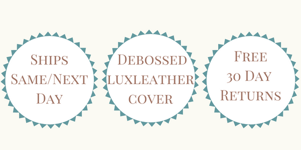 Ships Same or Next Day - Debossed Luxleather Cover - Free 30 Day Returns