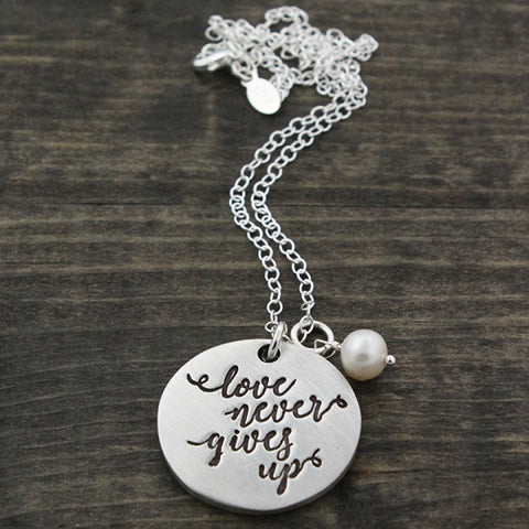Love Never Gives Up Fine Pewter Necklace The Vintage Pearl