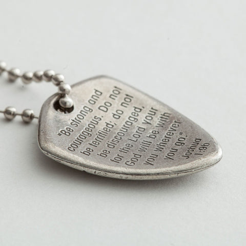 Pewter Shield of Faith Necklace Joshua 1:9 Be Strong and Courageous
