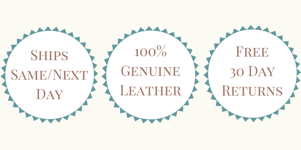 Ships Same or Next Day - 100% Genuine Leather - Free 30 Day Returns