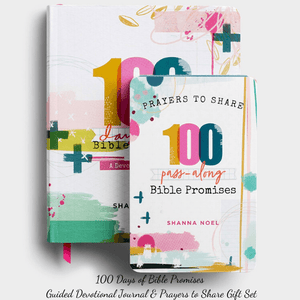 Bundle Gift Set 100 Days of Bible Promises Guided Christian Devotional Journal | Shanna Noel