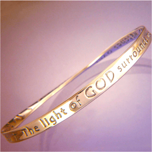 14k Gold Mobius Bangle Bracelet | The Light of God Surrounds Me