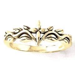 14k Gold Ladies Sculpted Cross and Vines Ring