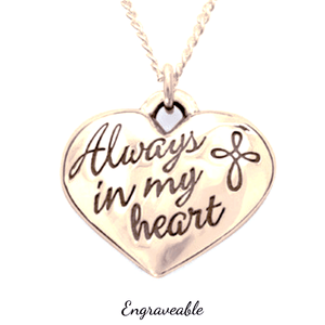 14k Gold Always in My Heart Necklace | Engraveable