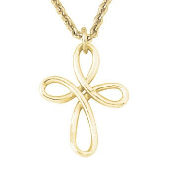 14k Gold Cross Necklace | Twisted Wire Cross