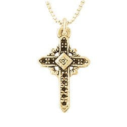 14k White or Yellow Gold Necklace | Fancy Ornate Cross Pendant