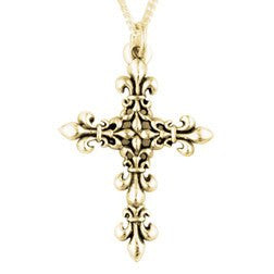 14k White or Yellow Gold Fleur-de-Lis Cross Necklace