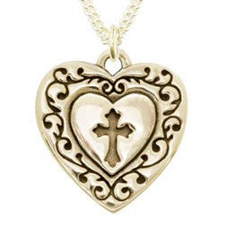 14k White or Yellow Gold Cross Necklace | Vine Edged Heart