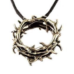 14k Gold Crown of Thorns Pendant Necklace