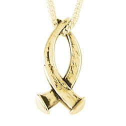 14k Gold Christian Fish Crucifixion Nail Pendant Necklace