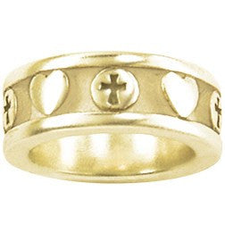 14k Gold Ladies Christian Ring | Cross and Hearts