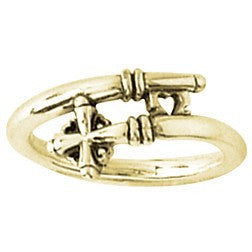 14k Gold Ladies Ring | Cross and Heart Key