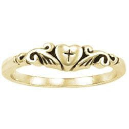 14k Gold Ladies Ring | Cross in Heart
