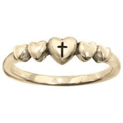 14k Gold Ladies Faith-Based Christian Ring | Cross & Hearts