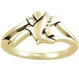 14k Gold Ladies Faith-Based Christian Ring | Cross and Dove