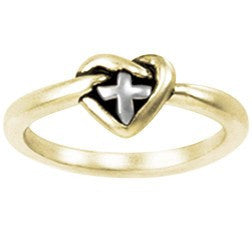 14k Gold Ladies Ring | Cross Heart Knot