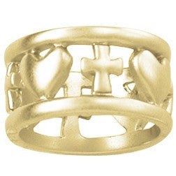 14k Gold Ladies Christian Ring | Open Cross and Hearts