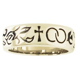 14k gold ladies ring Christian wedding band wedding symbols