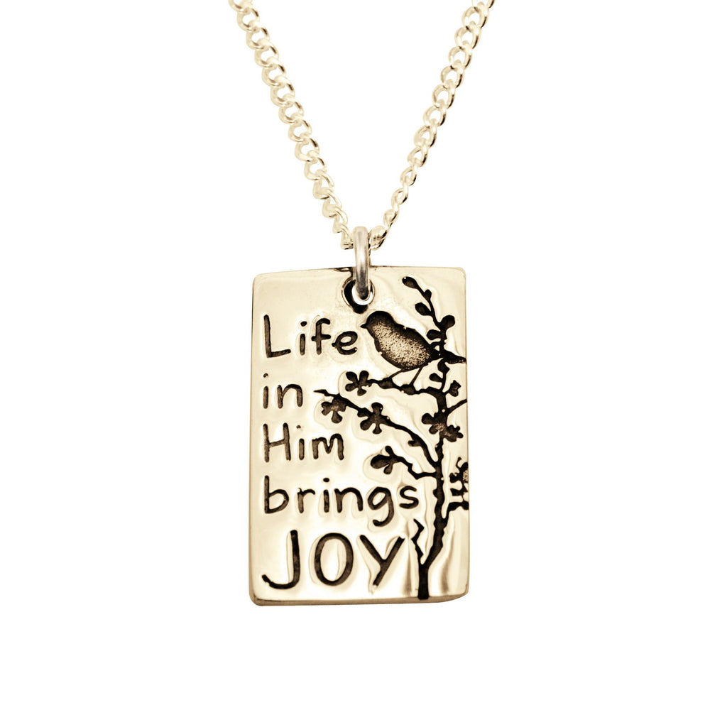 14k Gold Inspirational Quote Necklace | Life in Him Brings Joy
