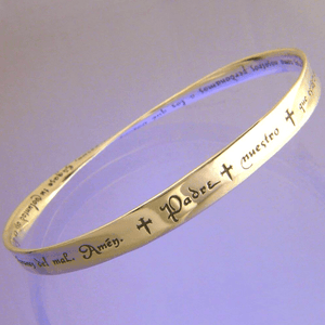 14k Gold Mobius Bangle Bracelet | The Lord's Prayer | Select NIV, KJV, or Spanish Translation