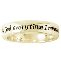 14k Gold Men's Christian Wedding Band | Philippians 1:3 | Remembrance Ring