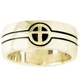 14k Gold Men's Christian Wedding Ring | Cross | They Became One