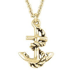 14k Gold Anchor Pendant Necklace