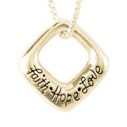 14k Gold Scripture Based Necklace | Faith Hope Love