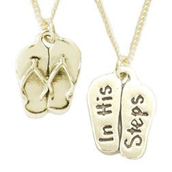 14k White or Yellow Necklace | In His Steps | Flip-Flops