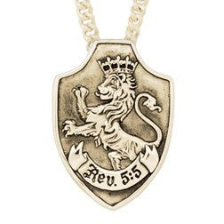 14k Gold Lion of Judah Shield Pendant | Revelations 5:5