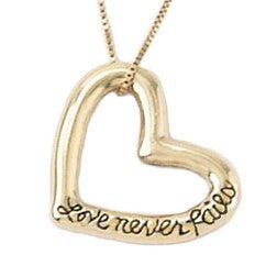 14k Gold Scripture Verse Necklace | Love Never Fails