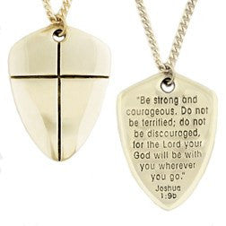 14k Gold Shield of Faith Pendant Necklace | Joshua 1:9 | Large