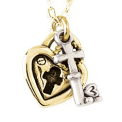 14k White or Yellow Gold Necklace | Christian Heart Necklace - Two-Tone Lock & Cross Key