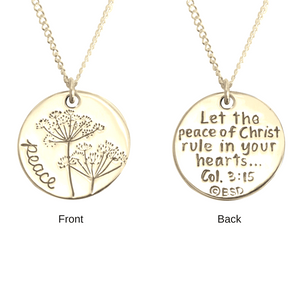 14k Gold Scripture Verse Necklace | Peace of Christ | Colossians 3:15