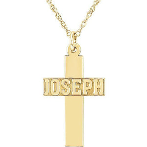 14k Gold Personalized Nameplate Cross Necklace