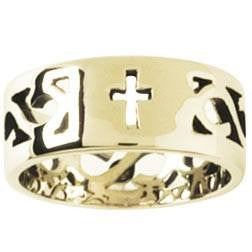 14k Gold Ladies Faith-Based Christian Ring | Cross with Filigree Band