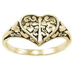14k Gold Ladies Faith-Based Christian Ring | Ornate Heart & Cross