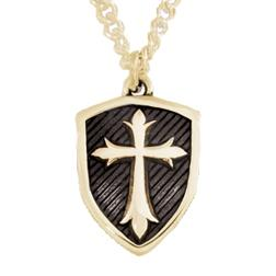 14k Gold Shield Cross Pendant Necklace