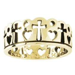 14k Gold Ladies Faith-Based Christian Ring | Pierced Crown with Crosses & Hearts