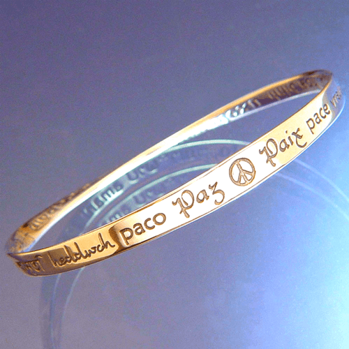 14k Gold Mobius Bangle Bracelet | Peace in 40 Languages