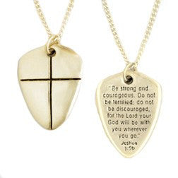 14k Gold Scripture Verse Necklace | Small Shield of Faith | Joshua 1:9