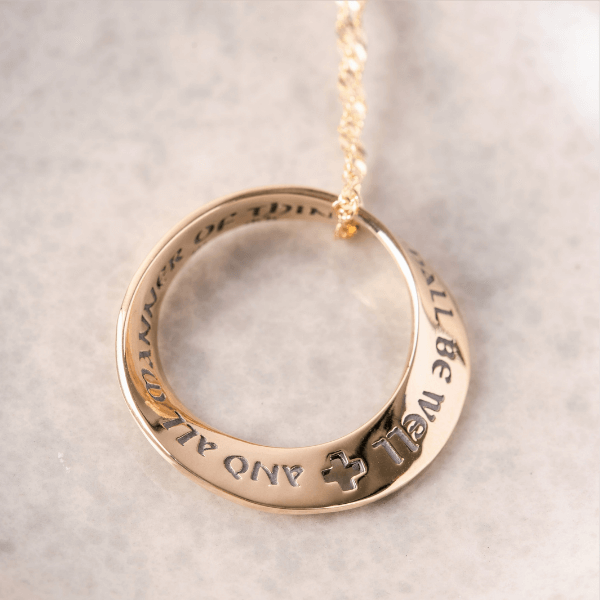 14k Gold Julian of Norwich Mobius Necklace | All Shall Be Well