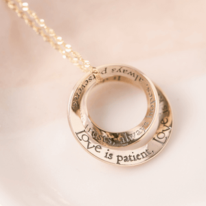 14k Gold Love is Patient Double Mobius Necklace | 1 Corinthians 13