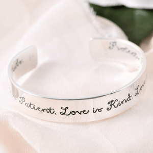 1 Corinthians 13 Sterling Silver Engraved Cuff Bracelet | Love is patient...
