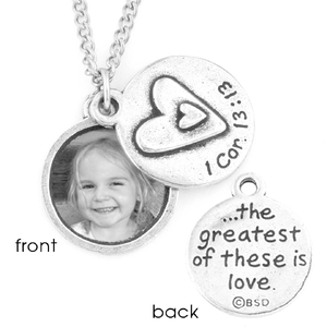 Fine Pewter Photo Locket Necklace | 1 Corinthians 13:13