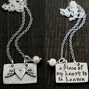A Piece of My Heart is in Heaven Fine Pewter & Freshwater Pearl Necklace