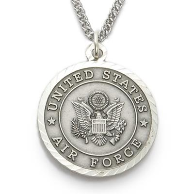 Sterling Silver St. Michael Air Force Medallion | US Military Seal Necklace